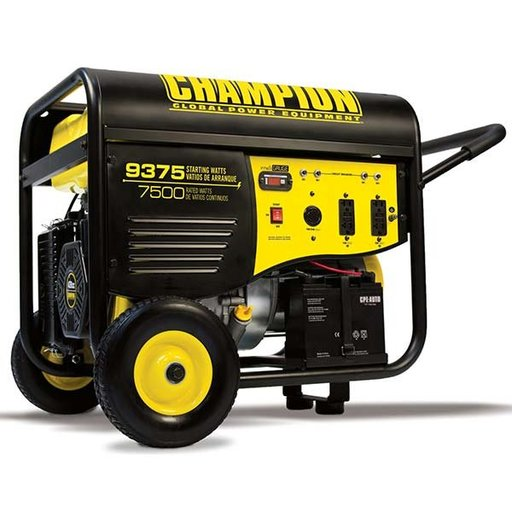 View a Larger Image of Champion 7500/9375W Electric Start Generator with 25' Cord, CARB