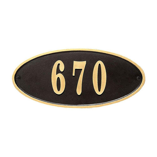 View a Larger Image of Claremont Oval Cast Aluminum Black with Gold Border Address Plaque