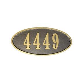 Claremont Oval Cast Aluminum Bronze with Gold Border Address Plaque