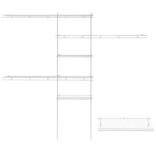 View a Larger Image of Closet Organizer Kit with Shoe Shelf 5' - 8' W Fixed Mount, White