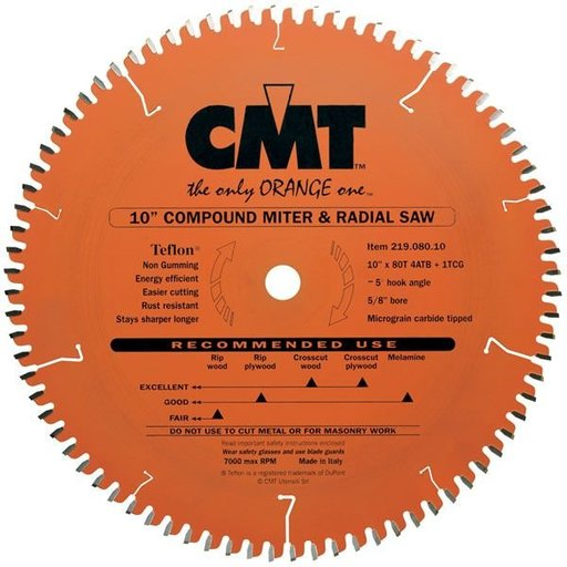 """View a Larger Image of 219.080.10 Circular Saw Blade 10"""" x 5/8"""" Bore x 80 Tooth Combination"""