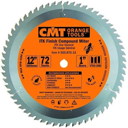 """View a Larger Image of 253.072.12 ITK Finish Compound Miter Saw Blade, 12"""", 72 Teeth"""