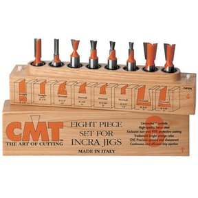"""800.501.11 8 Piece Dovetail And Straight Router Router Bit Set 1/2"""" Shank"""
