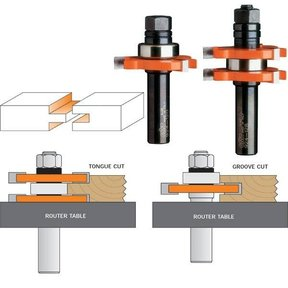 """800.626.11 Tongue And Groove Router Bit Set 1/2""""SH 3/4""""H 1-7/8""""D"""
