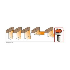 """801.818.11B Mortising Router Bit with Top Bearing 1/2""""SH 1-1/4""""D 15/64""""CL 1-1/4""""BD"""