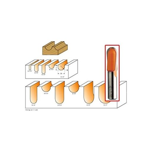 """View a Larger Image of 814.127.11B Round Nose Router Bit with Top Bearing 1/4""""SH 1/4""""R 1/2""""D 3/8""""CL 1/2""""BD"""