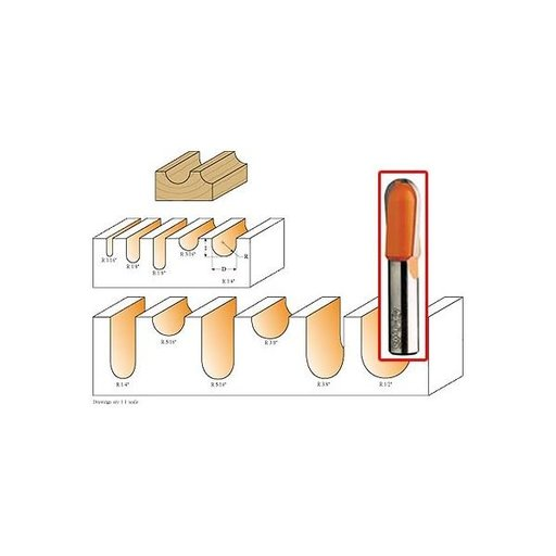 """View a Larger Image of 814.564.11 Round Nose Router Bit 1/2""""SH 1/8""""R 1/4""""D 5/8""""CL"""