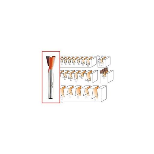 """View a Larger Image of 818.081.11 Dovetail Router Bit For Leigh Jig 1/4""""SH 5/16""""D 3/8""""CL 8A 2-1/8""""OL"""
