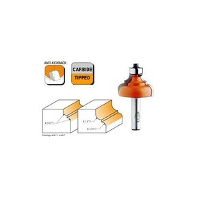 """845.850.11 Classical Ogee Router Bit with Fillet 1/2""""SH 1/4""""-3/16""""R 1-3/8""""OD 3/4""""CL"""