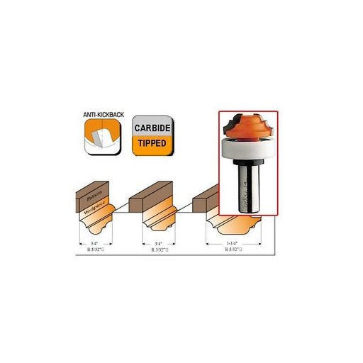 """View a Larger Image of 848.190.11B Plunge Ogee Router Bit with Top Bearing 1/4""""SH 3/4""""D 5/32""""R 1/2""""CL 3/4""""BD"""