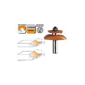 """890.537.11 Junior Raised Panel Router Bit A 1/2""""SH 2-1/2""""OD 7/16"""" to 11/16""""ST"""
