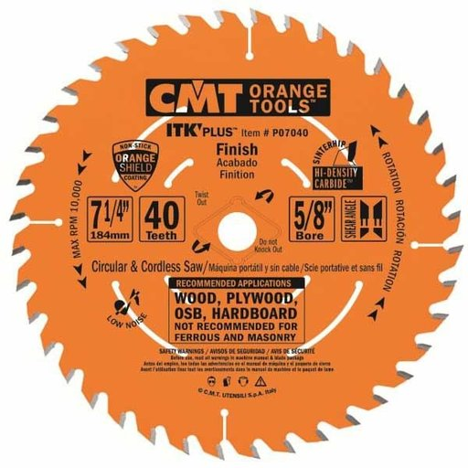 """View a Larger Image of P07040-X10 Finish Saw Blade, 7-1/4"""" x 40T x 5/8"""" bore, 10 pack"""