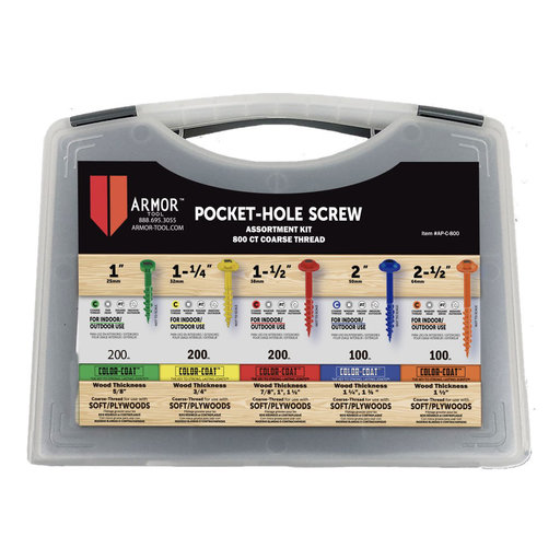 View a Larger Image of Color-Coat Pocket Hole Screw Set, Coarse, 800 Piece
