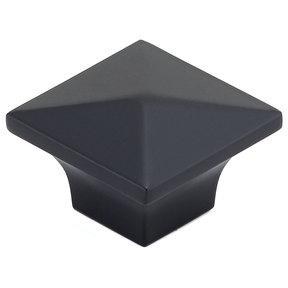 "Contemporary Knob, 1-1/4"" x 1-1/4"", Matte Black"