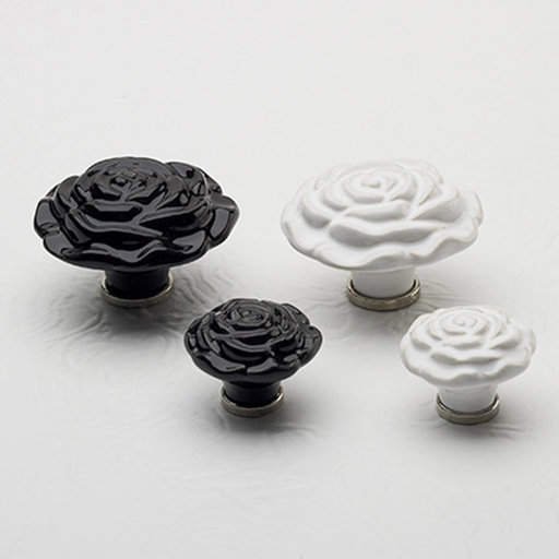 """View a Larger Image of Contemporary Knob, 1-11/16"""" D, Black"""