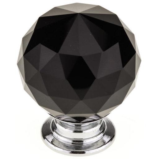 "View a Larger Image of Contemporary Knob, 1-3/16"" D, Chrome, Black"