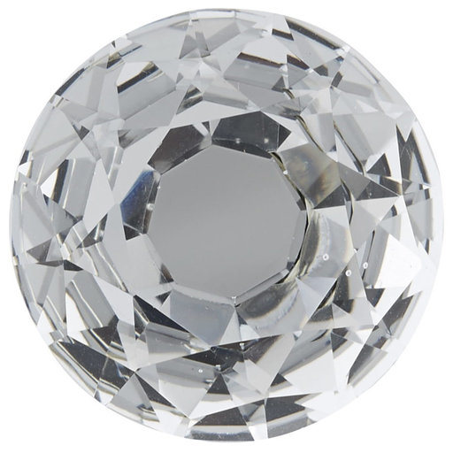 """View a Larger Image of Contemporary Knob, 1-3/16"""" D, Chrome, Clear"""