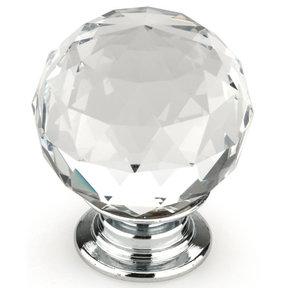 """Contemporary Knob, 1-3/16"""" D, Crystal, Clear, Chrome"""