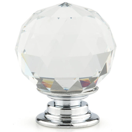 """View a Larger Image of Contemporary Knob, 1-3/16"""" D, Crystal, Clear, Chrome"""