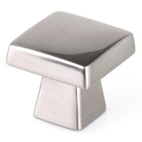 "Contemporary Knob, 1-5/32"" x 1-5/32"", Brushed Nickel"