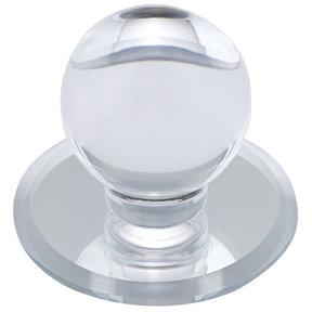 "Contemporary Knob, 1-7/8"" D, Transparent/Clear, Mirror Effect"