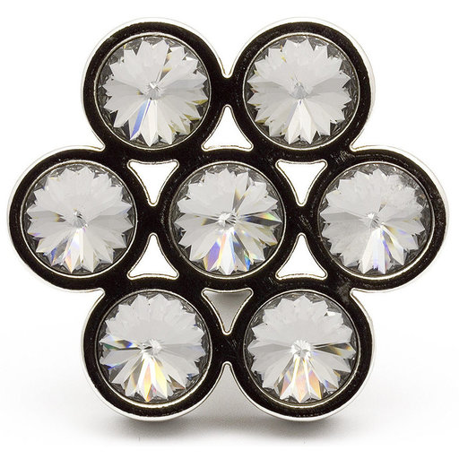 """View a Larger Image of Contemporary Knob, 1-7/8"""" x 1-23/32"""", Clear, Chrome"""