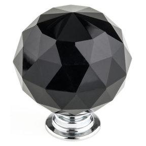 """Contemporary Knob, 1-9/16"""" D, Chrome, Black"""