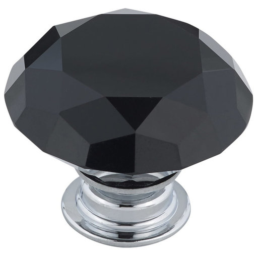 "View a Larger Image of Contemporary Knob, 1-9/16"" D, Chrome, Black"