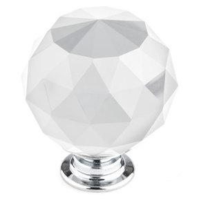 """Contemporary Knob, 1-9/16"""" D, Crystal, Clear, Chrome"""