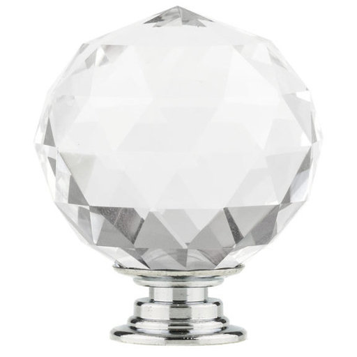 """View a Larger Image of Contemporary Knob, 1-9/16"""" D, Crystal, Clear, Chrome"""