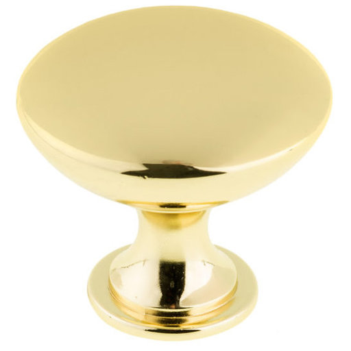 """View a Larger Image of Contemporary Knob, 1-9/16"""" D, Satin Gold"""