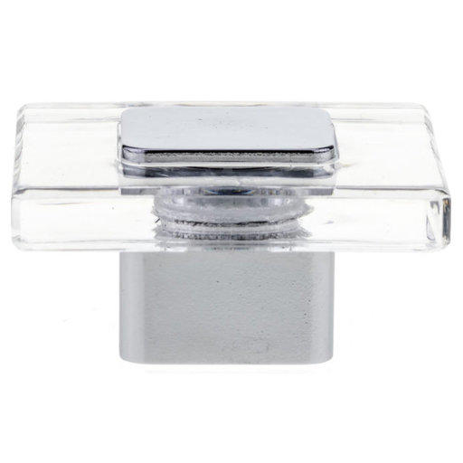 """View a Larger Image of Contemporary Knob, 1-9/16"""" x 1-9/16"""", Chrome, Clear"""
