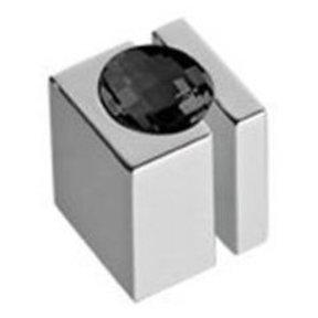 "Contemporary Knob, 19/32"" x 19/32"", Black Crystal, Chrome"