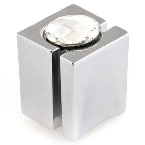 "Contemporary Knob, 19/32"" x 19/32"", Chrome, Crystal"