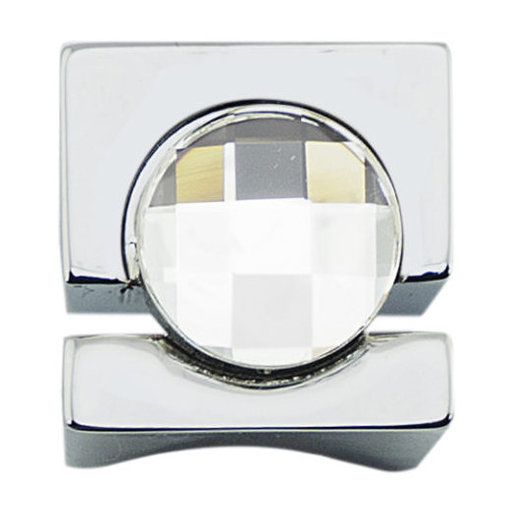 """View a Larger Image of Contemporary Knob, 19/32"""" x 19/32"""", Chrome, Crystal"""