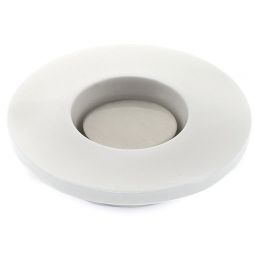 """View a Larger Image of Contemporary Knob, 2-3/4"""" D, White, Brushed Nickel"""