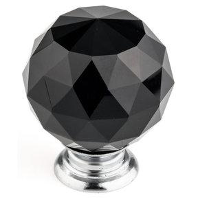 """Contemporary Knob, 2"""" D, Chrome, Black"""