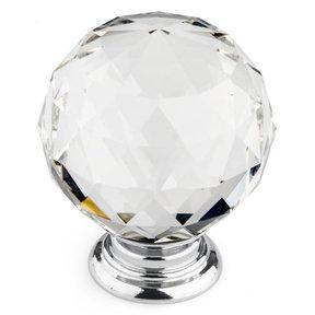 """Contemporary Knob, 2"""" D, Crystal, Clear, Chrome"""