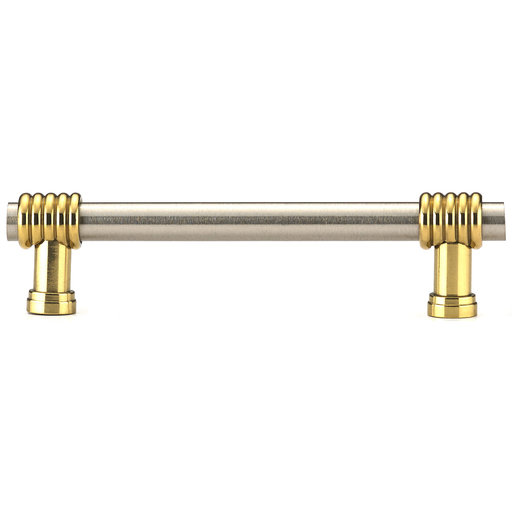 """View a Larger Image of Contemporary Pull, 3-3/4"""" Center-to-Center, Brass, Brushed Nickel"""