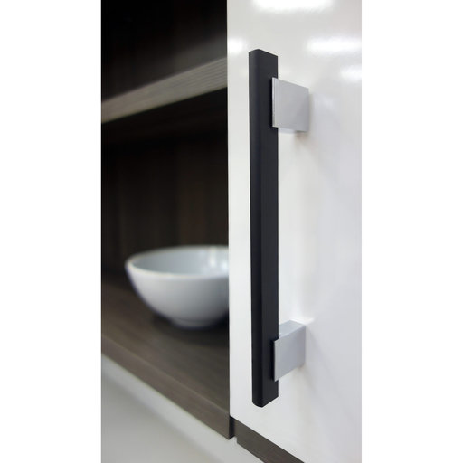 """View a Larger Image of Contemporary Pull, 5-1/16"""" Center-to-Center, Chrome, Matte Black"""
