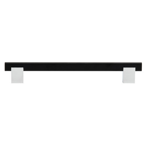 """View a Larger Image of Contemporary Pull, 7-9/16"""" Center-to-Center, Chrome, Matte Black"""