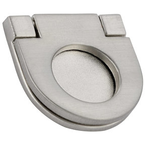 """Contemporary Recessed Pull, 1-1/16"""" Center-to-Center, Brushed Nickel"""