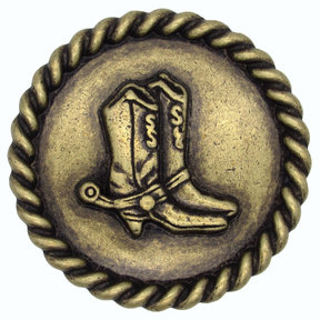 Cowboy Boots with Roped Edge Round Knob, Brass Oxide