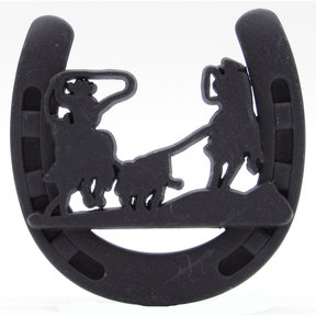 Cowboys Roping Calf Horseshoe Knob, Oil Rubbed Bronze