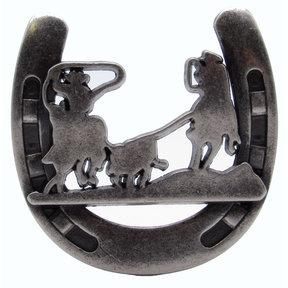 Cowboys Roping Calf Horseshoe Knob, Old Silver