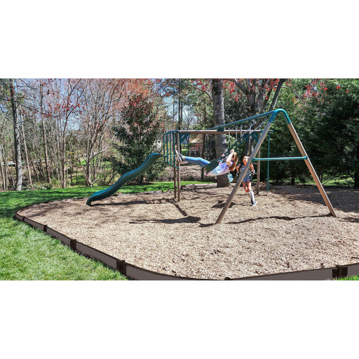 """View a Larger Image of Weathered Wood Curved Playground Border 16' - 1"""" profile"""