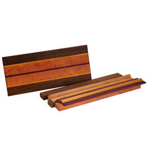"3/4"" x 8-1/2"" x 16"" Walnut, Cherry, Yellowheart & Purpleheart Cutting Board Kit"