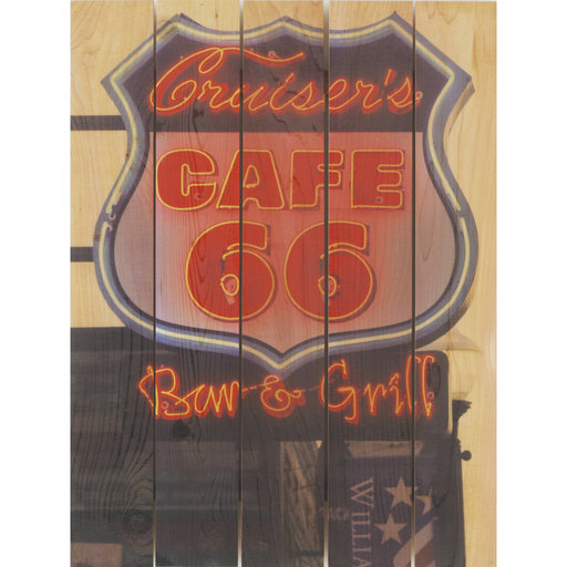 View a Larger Image of Cafe 66 28x36 Wood Art