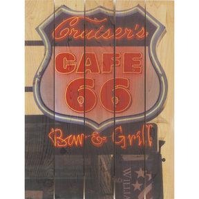 Cafe 66 28x36 Wood Art
