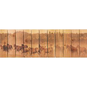 Wild Horses 62x20 Wood Art